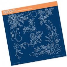 Tina's Floral Swirls & Corners 2 A4 Square Groovi Plate