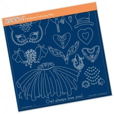Linda's Wedding Owl Accessories A4 Square Groovi Tem-plate