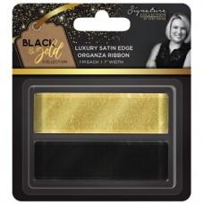 "Black & Gold - Satin Edge Organza Ribbon 1"" (2pk)"