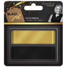 """Black & Gold - Satin Ribbon 0.75"""" (2pk)"""