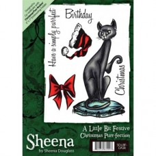 Sheena Douglass A6 Xmas Stamp - Christmas Purr-fection