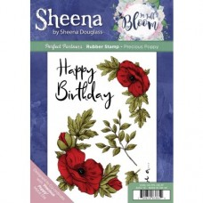 Sheena Douglass Perfect Partner In Full Bloom A5 Rubber Stamp - Precious Poppy