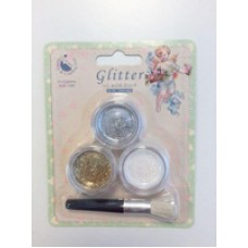 "Glitter Set with Brush, 1/96"", Silver, Gold, AB White, 3 x 3 gr"