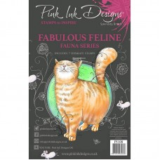 Pink Ink Designs Fabulous Feline A5 Clear Stamp