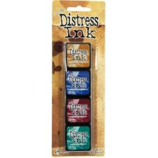 Distress Mini Kit 12 Brushed Corduroy, Chipped Sapphire , Aged Mahogany & Pine Needles