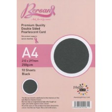 10 Sheet Hanging Pack A4 Black Bersan Premium Pearlescent Card 250gsm
