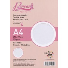 10 Sheet Hanging Pack A4 Duo Cream and White Bersan Premium Pearlescent Card 250gsm