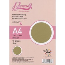 10 Sheet Hanging Pack A4 Gold Bersan Premium Pearlescent Card 250gsm