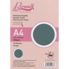 10 Sheet Hanging Pack A4 Green Bersan Premium Pearlescent Card 250gsm