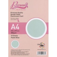 10 Sheet Hanging Pack A4 Pastel Blue Bersan Premium Pearlescent Card 250gsm