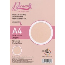 10 Sheet Hanging Pack A4 Pastel Pink Bersan Premium Pearlescent Card 250gsm
