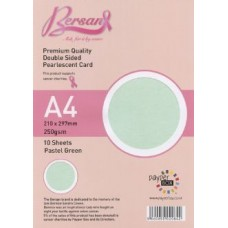 10 Sheet Hanging Pack A4 Pastel Green Bersan Premium Pearlescent Card 250gsm
