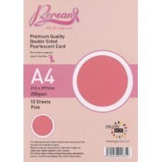 10 Sheet Hanging Pack A4 Pink Bersan Premium Pearlescent Card 250gsm