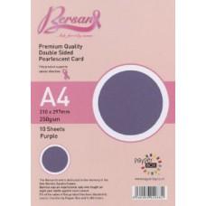 10 Sheet Hanging Pack A4 Purple Bersan Premium Pearlescent Card 250gsm