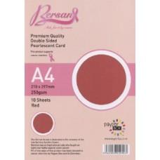10 Sheet Hanging Pack A4 Red Bersan Premium Pearlescent Card 250gsm