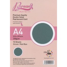 10 Sheet Hanging Pack A4 Duo Green and Red Bersan Premium Pearlescent Card 250gsm