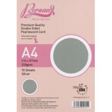 10 Sheet Hanging Pack A4 Silver Bersan Premium Pearlescent Card 250gsm