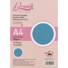 10 Sheet Hanging Pack A4 Turquoise Bersan Premium Pearlescent Card 250gsm