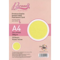10 Sheet Hanging Pack A4 Yellow Bersan Premium Pearlescent Card 250gsm