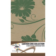 10 Sheet Hanging Pack of A4 Evergreen Retro Floral Kraft Paper 130gsm