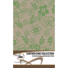 10 Sheet Hanging Pack of A4 Leaf Green Daisy Kraft Paper 130gsm