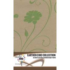 10 Sheet Hanging Pack of A4 Leaf Green Retro Floral Kraft Paper 130gsm