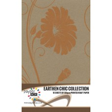 10 Sheet Hanging Pack of A4 Orange Retro Floral Kraft Paper 130gsm