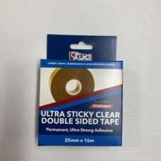 Double Sided Polyester Ultra Sticky Clear Tape - 25mm x 16m